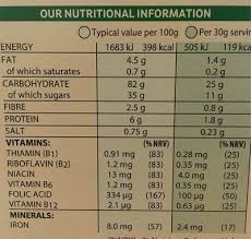 kelloggs crunchy nut corn flakes cereal 750g nutrition facts
