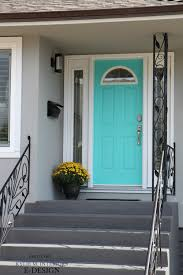 Turquoise front door Bright Front Door Curb Appeal Mexicali Turquoise Teal By Benjamin Moore With Gray House And Charcoal Steps Kylie Edesign Photo Kylie Interiors Front Door Curb Appeal Mexicali Turquoise Teal By Benjamin Moore