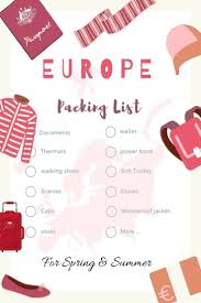 Europe Packing Checklist For Spring And Summer Backpack