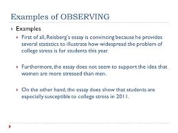 peer review of analysis essay ppt 4 examples of observing examples