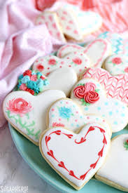 valentine s day sugar cookies a platter of orted sugar cookies decorated for valentine s day