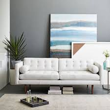 White leather couch Fluffy West Elm Monroe Midcentury Leather Sofa 80