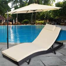 costway adjule pool chaise lounge chair outdoor patio furniture pe wicker w cushion 0