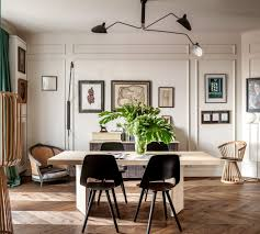 dining table, Serge Mouille lamp, Vitra chairs