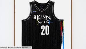 Brooklyn nets logo man team color 59fifty cap $39.99. Nets Unveil Stunning Jean Michel Basquiat Inspired City Edition Jerseys Fans Love It