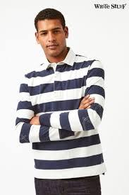 mens white stuff blue crossfield long sleeve stripe rugby top blue