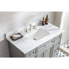 Ari Kitchen And Bath South Bay 43 In Single Bath Vanity In Gray With Marble Vanity Top In Carrara White With White Basin Akb South 43 Gr The Home Depot