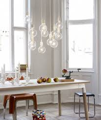 scandinavian lighting design. 4 Dark Brown Stained Teak Armless Chairs Rectangular Rustic Dining Table Some Grey Chair White Wooden Backrest Tube Pendant Lamp Scandinavian Lighting Design