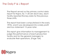 daily profit and loss profit and loss report on nypro
