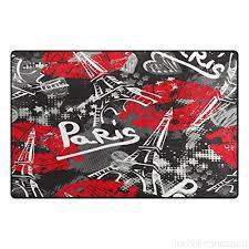 wozo red lip bonjour paris eiffel tower area rug rugs non slip floor mat doormats living room bedroom 31 x 20 inches b078xqny69