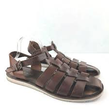 details about kenneth cole new york brown leather gladiator sandals size 11 made in italy