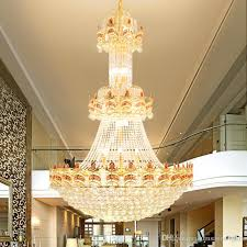 led modern crystal chandeliers lights fixture american gold chandelier home villa hotel big crystal droplight 3 white light color dimmable outdoor