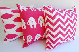 Decorative Pillow Set Hot Pink Throw Pillow Covers Set Of Three Chevron Elephants