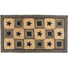 country star rectangle braided rug primitive black and tan or wine and tan com