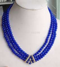 New Bead Designs Us 19 0 34 Off New Fashion 3row 6mm Blue Round Beads Chalcedony Necklace 17 19inch Diy Women Jewelry Making Design Jt5648 On Aliexpress