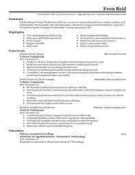 Resume Automotive Mechanic Perfect Resume