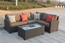 higreen outdoor bellwood 5 piece patio wicker sectional furniture sofa set canvas cocoa brown
