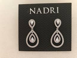 nadri rhodium plated cubic zirconia multi teardrop drop earrings nwt 60 664293315274