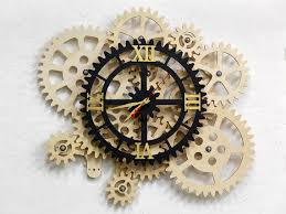 self rotating gears wall clock