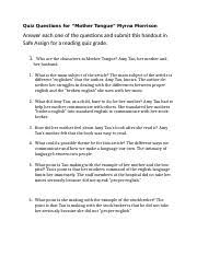 mothertonguequiz.docx - Quiz Questions for \u201cMother Tongue\u201d Myrna  Morrison Answer each one of the questions and submit this handout in Safe  Assign   Course Hero