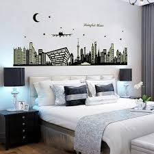 abq9636 shanghai night scene diy removable wallpaper fluorescent luminous oriental pearl wall stickers living room mural cheap oriental furniture