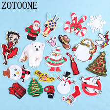 <b>ZOTOONE Christmas</b> Style Patch for Clothing Iron on Embroidered ...