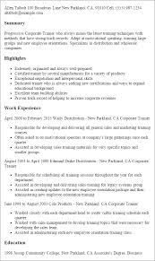 Resume Of Trainer 1 Corporate Trainer Resume Templates Try Them Now Myperfectresume