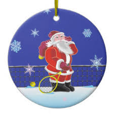 Tennis Santa, Merry Christmas Ceramic Ornament