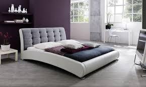 Gray & White Upholstered Platform Bed in King Size