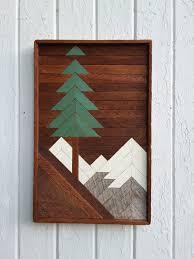 barn wood wall decor reclaimed wood wall art mountain pine tree scene 20