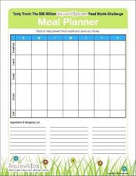 Meal Plan Spreadsheet Printable Planning Charts Horneburg