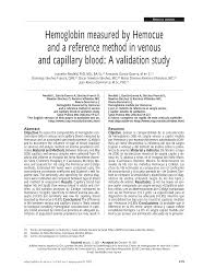 Pdf Hemoglobin Measured By Hemocue And A Reference Method In Venous