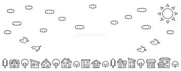 デフォルメした家と木の並び空と雲と鳥線画のみロングバージョン