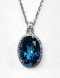 14k london blue topaz diamond pendant