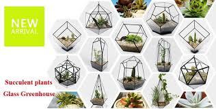 s m l pentahedral retro nostalgia geometric glass terrarium handmade glass plant terrarium indoor gardening decoration