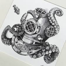 Small Picture Image result for octopus and diver tattoo Tattoos Pinterest