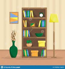 Vlakke Illustratie Van Een Comfortabele Boekenkast Met Boeken Klok
