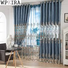 custom size curtains european jacquard curtains for living room blue shiny drapes for