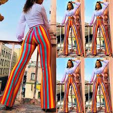 Women Boho <b>Stripe</b> Long Pants Palazzo <b>Wide Leg Yoga</b> Flared ...