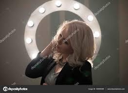 Round Makeup Light Curly Bond Hair Woman Posing Makeup Light Round Stock