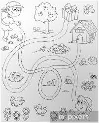 Gioco Per Bambini Labirinto In Bianco E Nero Poster Pixers We