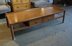 american of martinsville 2 drawer coffee table w wicker shelves salvage one