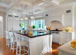 traditional pendant lighting. Coffered-ceiling-with-pendant-lighting-in-traditional-kitchen- Traditional Pendant Lighting