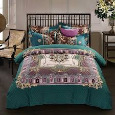 dark teal gold and purple western chic indian bohemian pattern royal style 100 brushed cotton full queen size bedding sets