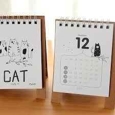 diy calendar cartoon mini table cute cat desktop 2018 template diy calendar