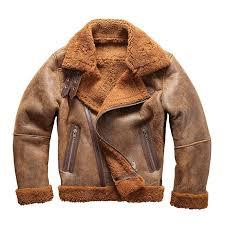 european size high quality super warm genuine sheep leather jacket