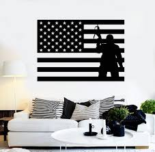 vinyl wall decal usa flag soldier patriotic military art stickers unique gift ig4093  on patriotic vinyl wall art with vinyl wall decal usa flag soldier patriotic military art stickers