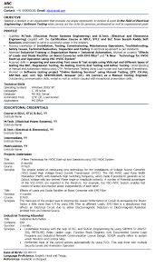 Sample Resume Format For Freshers Engineers Best Cv Format For Electrical Engineer Resume Of A Electrical 17