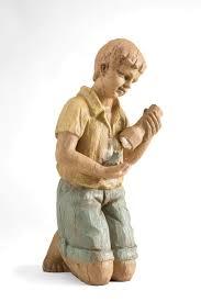 boy with frog solar garden statue