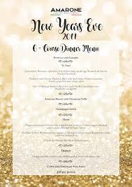 New Year Menu New Years Eve Menu Amarone Restaurant